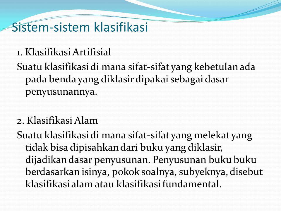 Sistem-sistem klasifikasi 1.