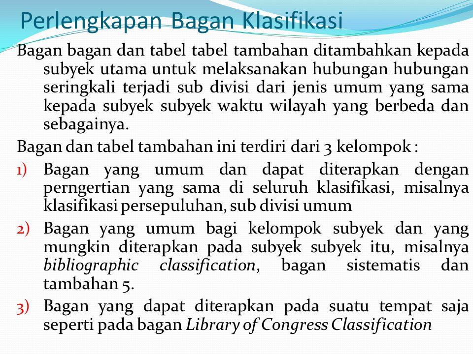 Perlengkapan Bagan Klasifikasi Bagan bagan dan tabel tabel tambahan ditambahkan kepada subyek utama untuk melaksanakan hubungan hubungan seringkali terjadi sub divisi dari jenis umum yang sama kepada subyek subyek waktu wilayah yang berbeda dan sebagainya.