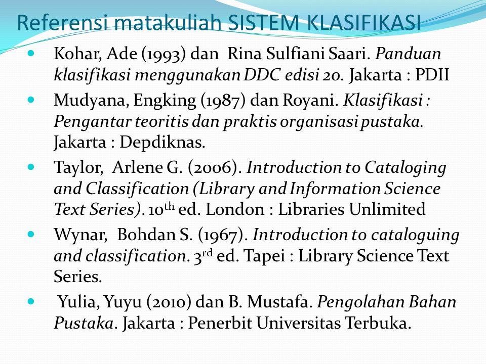 Referensi matakuliah SISTEM KLASIFIKASI Kohar, Ade (1993) dan Rina Sulfiani Saari.