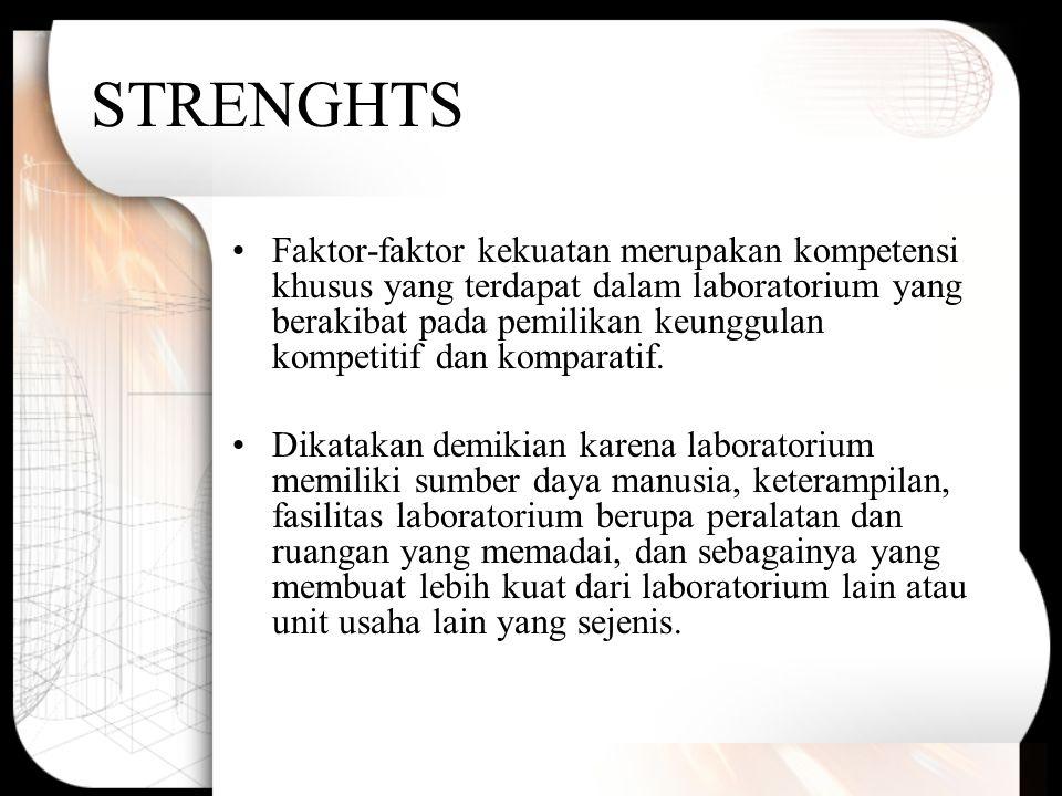 STRENGHTS Faktor-faktor kekuatan merupakan kompetensi khusus yang terdapat dalam laboratorium yang berakibat pada pemilikan keunggulan kompetitif dan