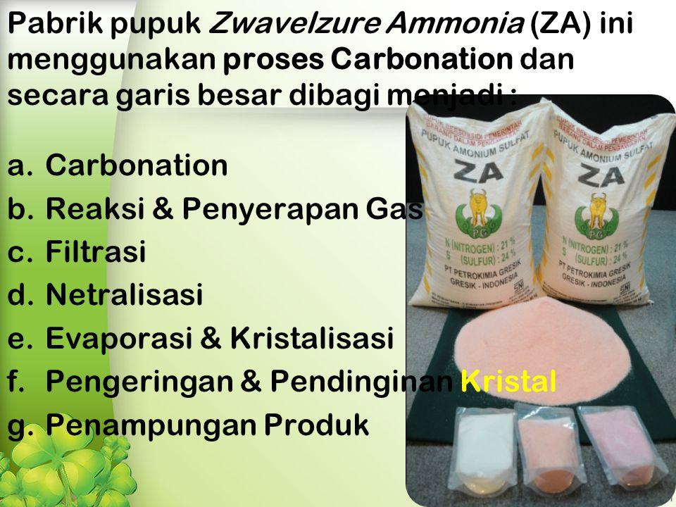 Pabrik pupuk Zwavelzure Ammonia (ZA) ini menggunakan proses Carbonation dan secara garis besar dibagi menjadi : a.Carbonation b.Reaksi & Penyerapan Gas c.Filtrasi d.Netralisasi e.Evaporasi & Kristalisasi f.Pengeringan & Pendinginan Kristal g.Penampungan Produk