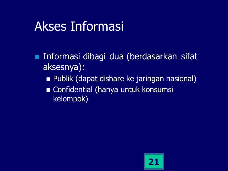 21 Akses Informasi Informasi dibagi dua (berdasarkan sifat aksesnya): Publik (dapat dishare ke jaringan nasional) Confidential (hanya untuk konsumsi k