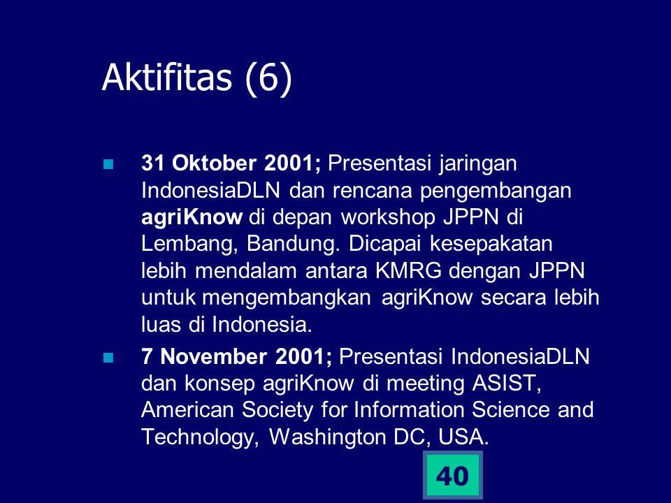 40 Aktifitas (6) 31 Oktober 2001; Presentasi jaringan IndonesiaDLN dan rencana pengembangan agriKnow di depan workshop JPPN di Lembang, Bandung. Dicap