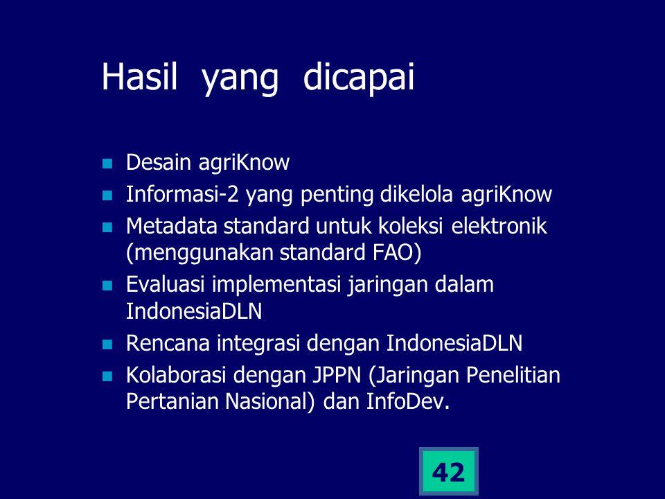 42 Hasil yang dicapai Desain agriKnow Informasi-2 yang penting dikelola agriKnow Metadata standard untuk koleksi elektronik (menggunakan standard FAO)