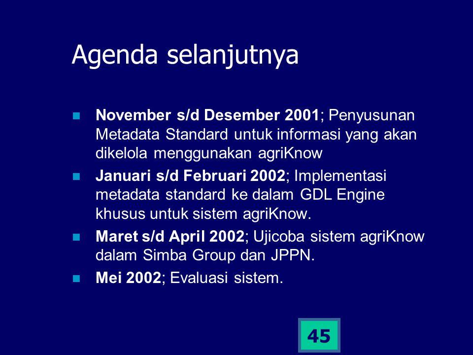 45 Agenda selanjutnya November s/d Desember 2001; Penyusunan Metadata Standard untuk informasi yang akan dikelola menggunakan agriKnow Januari s/d Feb