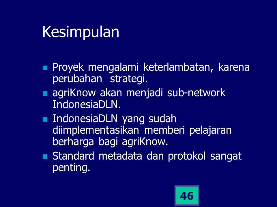 46 Kesimpulan Proyek mengalami keterlambatan, karena perubahan strategi. agriKnow akan menjadi sub-network IndonesiaDLN. IndonesiaDLN yang sudah diimp