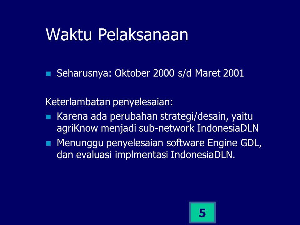 5 Waktu Pelaksanaan Seharusnya: Oktober 2000 s/d Maret 2001 Keterlambatan penyelesaian: Karena ada perubahan strategi/desain, yaitu agriKnow menjadi s