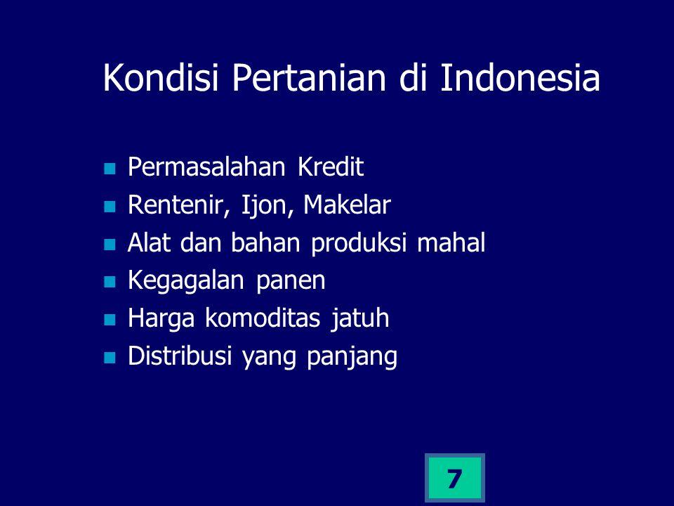 7 Kondisi Pertanian di Indonesia Permasalahan Kredit Rentenir, Ijon, Makelar Alat dan bahan produksi mahal Kegagalan panen Harga komoditas jatuh Distr