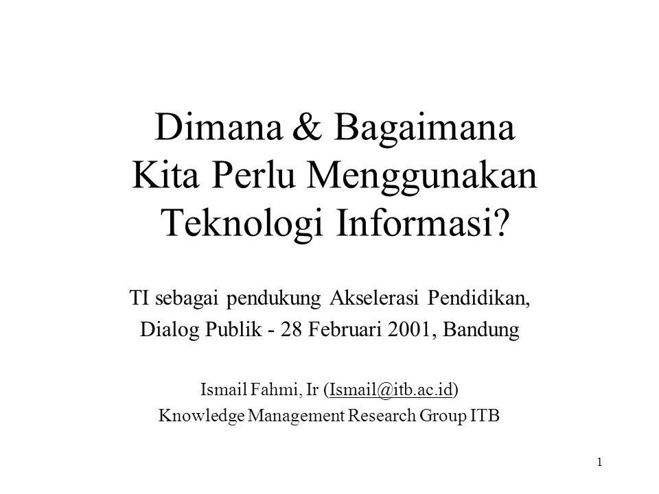 1 Dimana & Bagaimana Kita Perlu Menggunakan Teknologi Informasi.