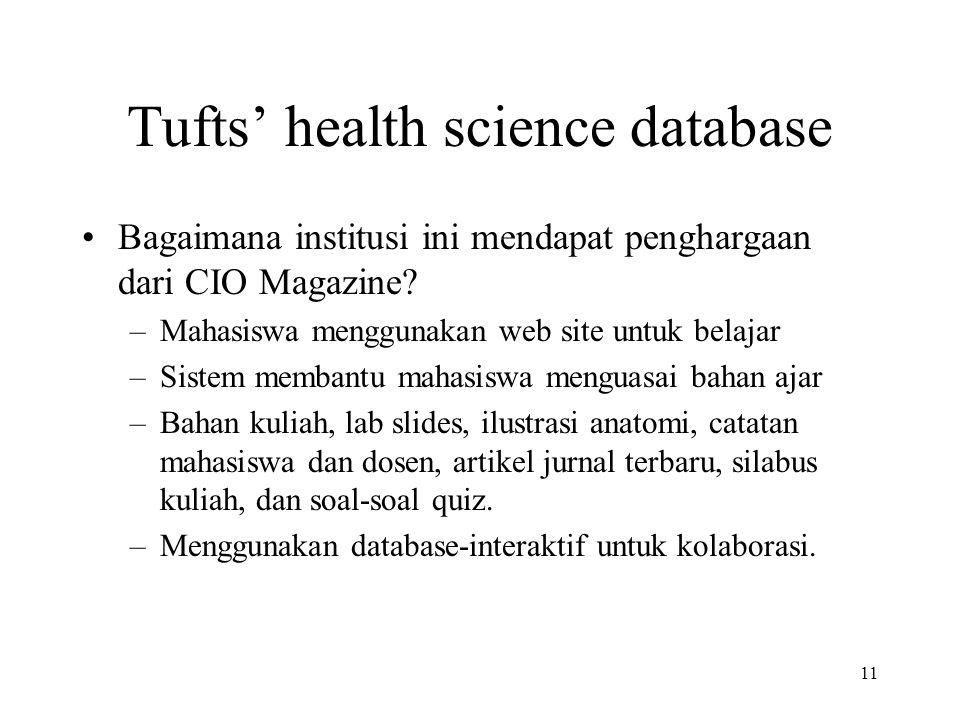 11 Tufts' health science database Bagaimana institusi ini mendapat penghargaan dari CIO Magazine.
