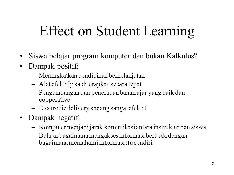 8 Effect on Student Learning Siswa belajar program komputer dan bukan Kalkulus.