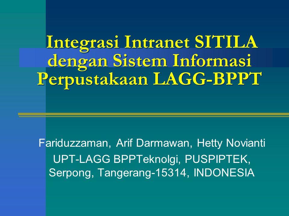 SITILA (Sistem Informasi Terpadu Intern LAGG) Sarana Basis Data –Organisasi, Karyawan, Inventaris –Pengujian, Kemampuan Teknologi –Pustaka dll.