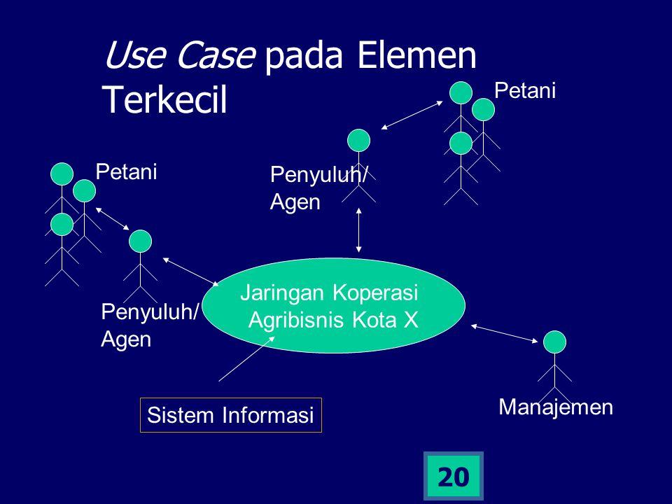 19 Elemen Terkecil SI Agrikultur Sistem informasi tersebut diterapkan pada elemen terkecil: Kelompok tani Koperasi LSM Dll