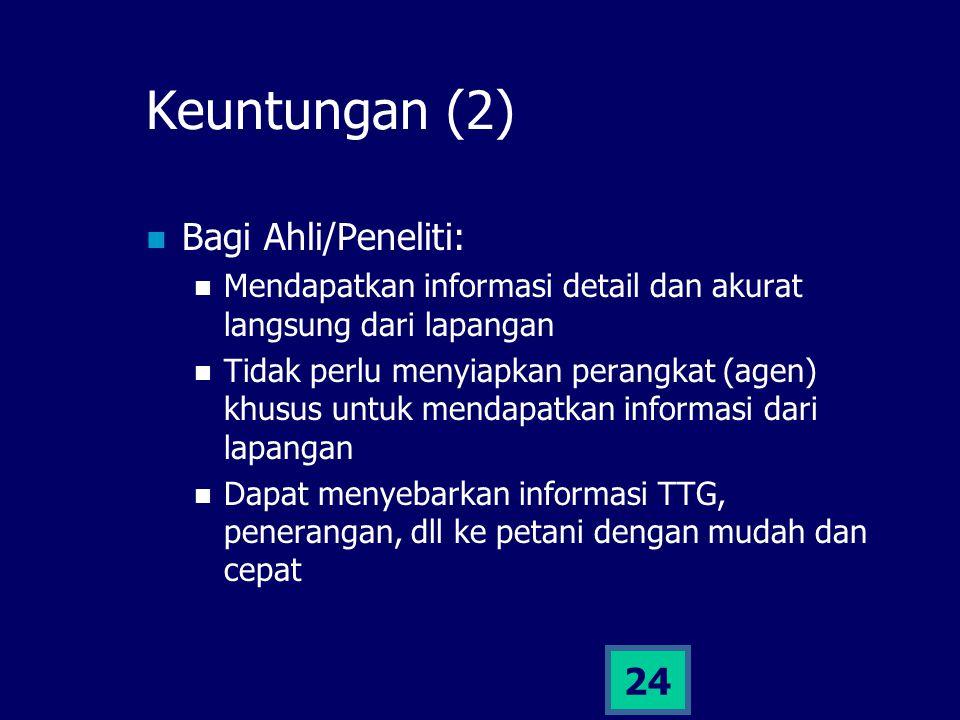 23 Keuntungan (1) Bagi petani (elemen terkecil): Informasi yang dikelola langsung berhubungan dengan kebutuhan dan aktifitas sehari-hari Informasi ber