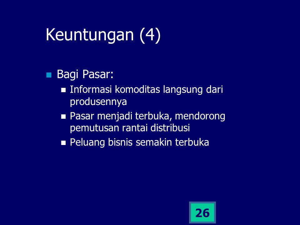 25 Keuntungan (3) Bagi Pemerintah: Informasi akurat dari lapangan untuk pengambilan keputusan Penyebaran informasi kebijakan, peluang modal, dll lebih