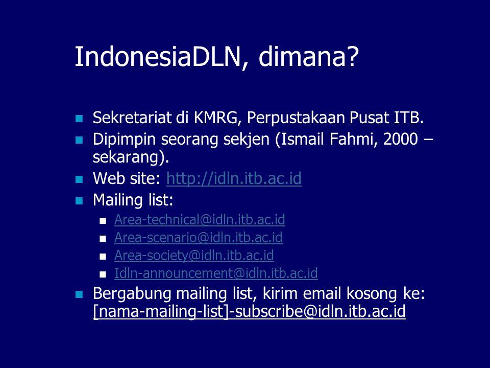 Forum IndonesiaDLN Sebuah forum yang membahas: Standard metadata untuk pertukaran informasi, Skenario jaringan digital library di Indonesia, Keanggotaan jaringan, Sosialisasi program jaringan digital library.