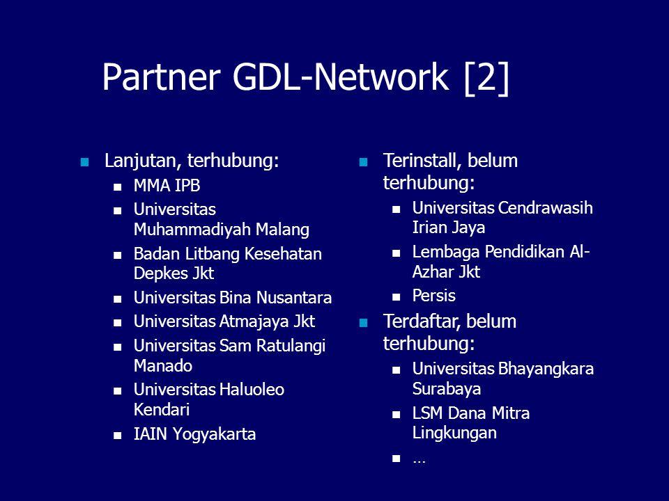 Partner GDL-Network [1] Partner = institusi, individu yang memiliki server digital library (GDL) dan bergabung ke IndonesiaDLN.