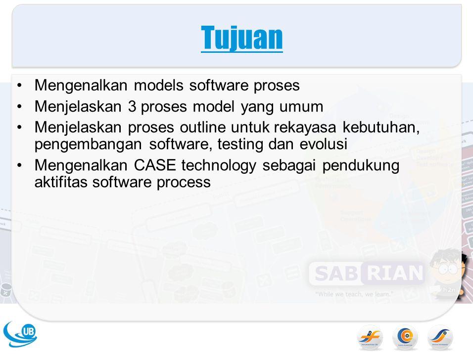 Tujuan Mengenalkan models software proses Menjelaskan 3 proses model yang umum Menjelaskan proses outline untuk rekayasa kebutuhan, pengembangan software, testing dan evolusi Mengenalkan CASE technology sebagai pendukung aktifitas software process