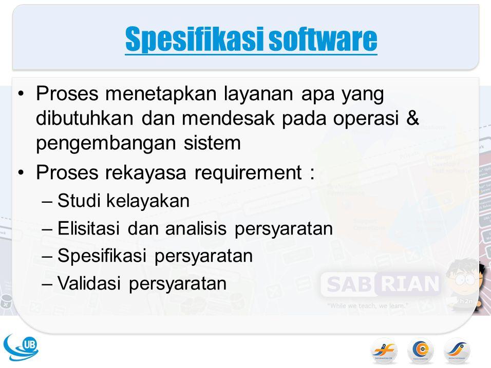 Spesifikasi software Proses menetapkan layanan apa yang dibutuhkan dan mendesak pada operasi & pengembangan sistem Proses rekayasa requirement : –Stud