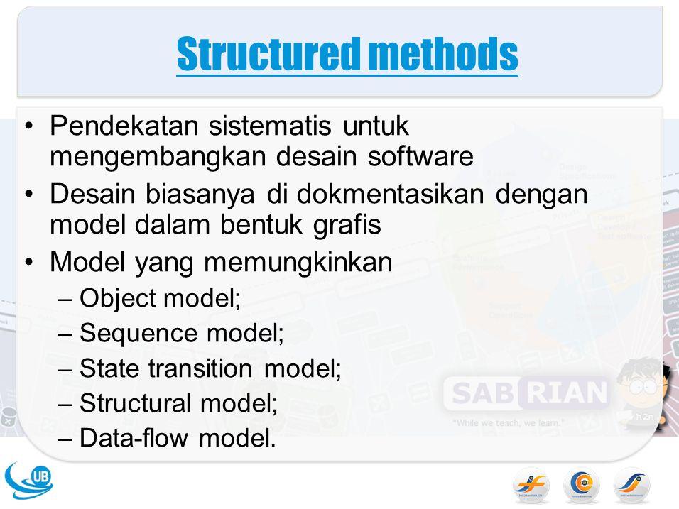 Structured methods Pendekatan sistematis untuk mengembangkan desain software Desain biasanya di dokmentasikan dengan model dalam bentuk grafis Model yang memungkinkan –Object model; –Sequence model; –State transition model; –Structural model; –Data-flow model.