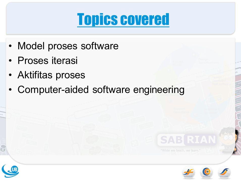 The software process Aktivitas yang terstruktur yang dibutuhkan untuk mengembangkan sebuah sistme software –Spesifikasi –Design –Validasi –Evolusi