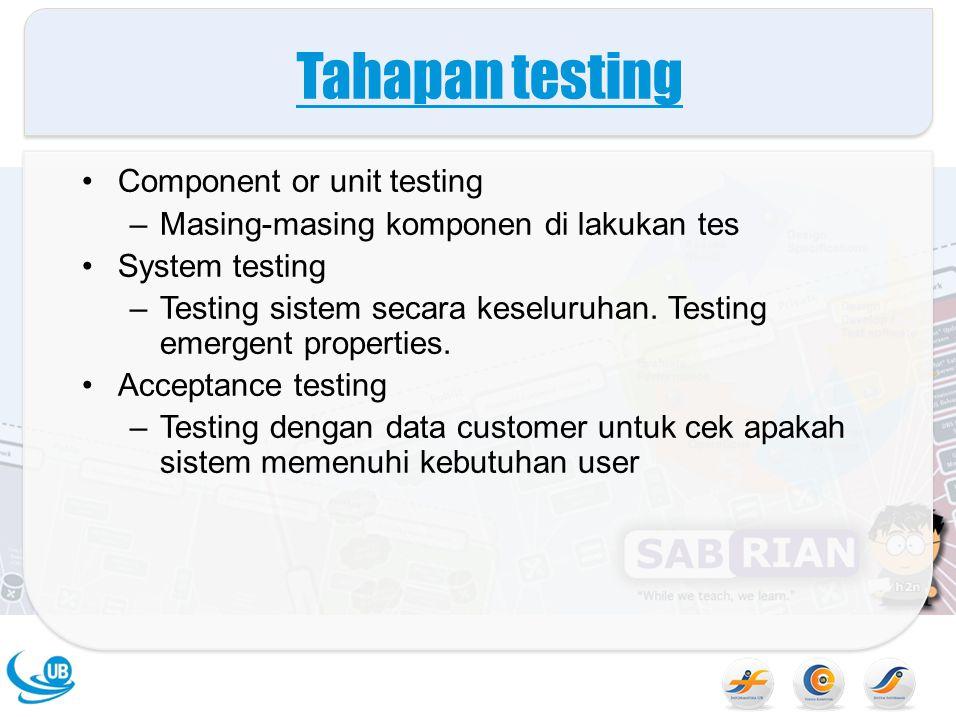 Tahapan testing Component or unit testing –Masing-masing komponen di lakukan tes System testing –Testing sistem secara keseluruhan. Testing emergent p