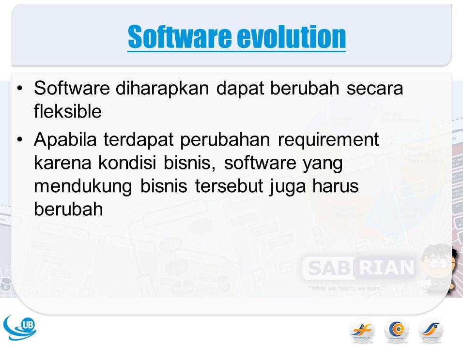 Software evolution Software diharapkan dapat berubah secara fleksible Apabila terdapat perubahan requirement karena kondisi bisnis, software yang mend