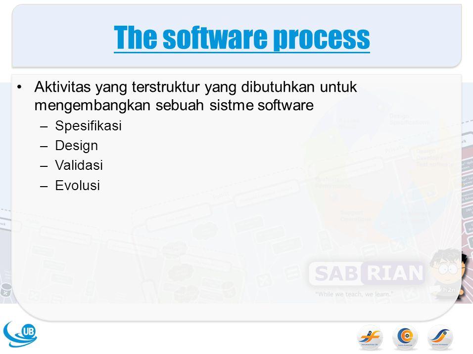 Software evolution Software diharapkan dapat berubah secara fleksible Apabila terdapat perubahan requirement karena kondisi bisnis, software yang mendukung bisnis tersebut juga harus berubah