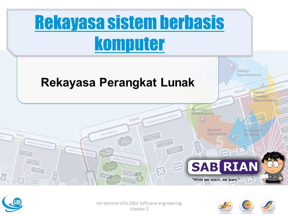 Rekayasa Perangkat Lunak Rekayasa sistem berbasis komputer ian sommerville 2004 Software engineering chapter 2
