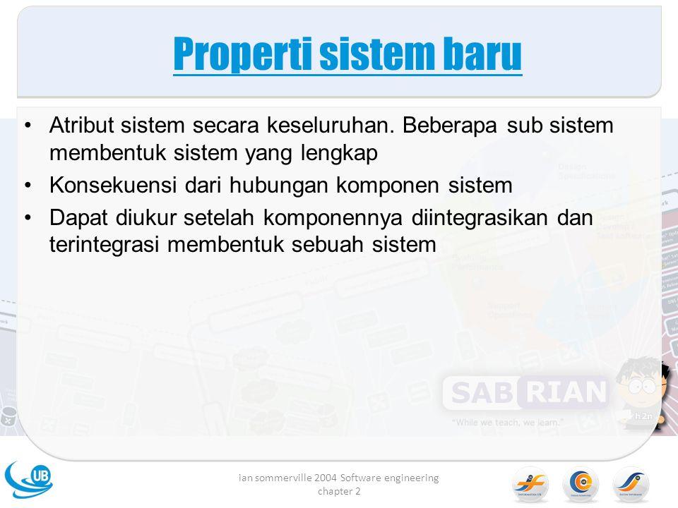 Properti sistem baru Atribut sistem secara keseluruhan. Beberapa sub sistem membentuk sistem yang lengkap Konsekuensi dari hubungan komponen sistem Da