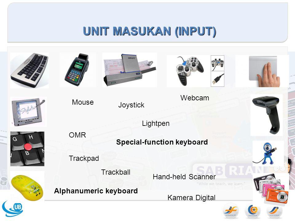 UNIT MASUKAN (INPUT) Mouse Joystick Trackball Trackpad Lightpen Alphanumeric keyboard Special-function keyboard OMR Hand-held Scanner Webcam Kamera Digital