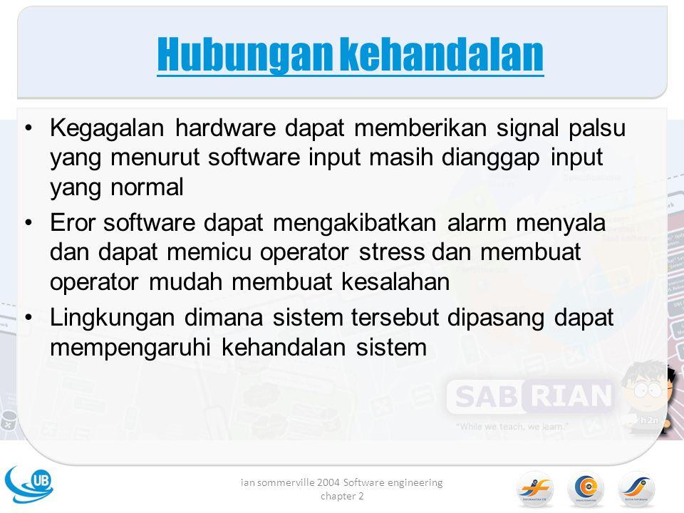 Hubungan kehandalan Kegagalan hardware dapat memberikan signal palsu yang menurut software input masih dianggap input yang normal Eror software dapat
