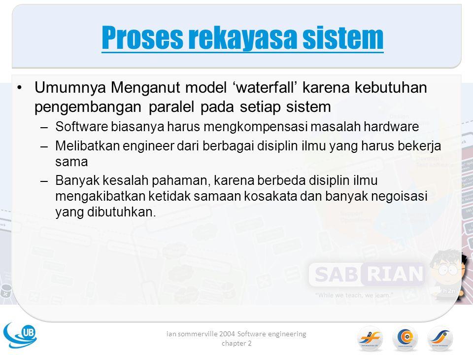 Proses rekayasa sistem Umumnya Menganut model 'waterfall' karena kebutuhan pengembangan paralel pada setiap sistem –Software biasanya harus mengkompen