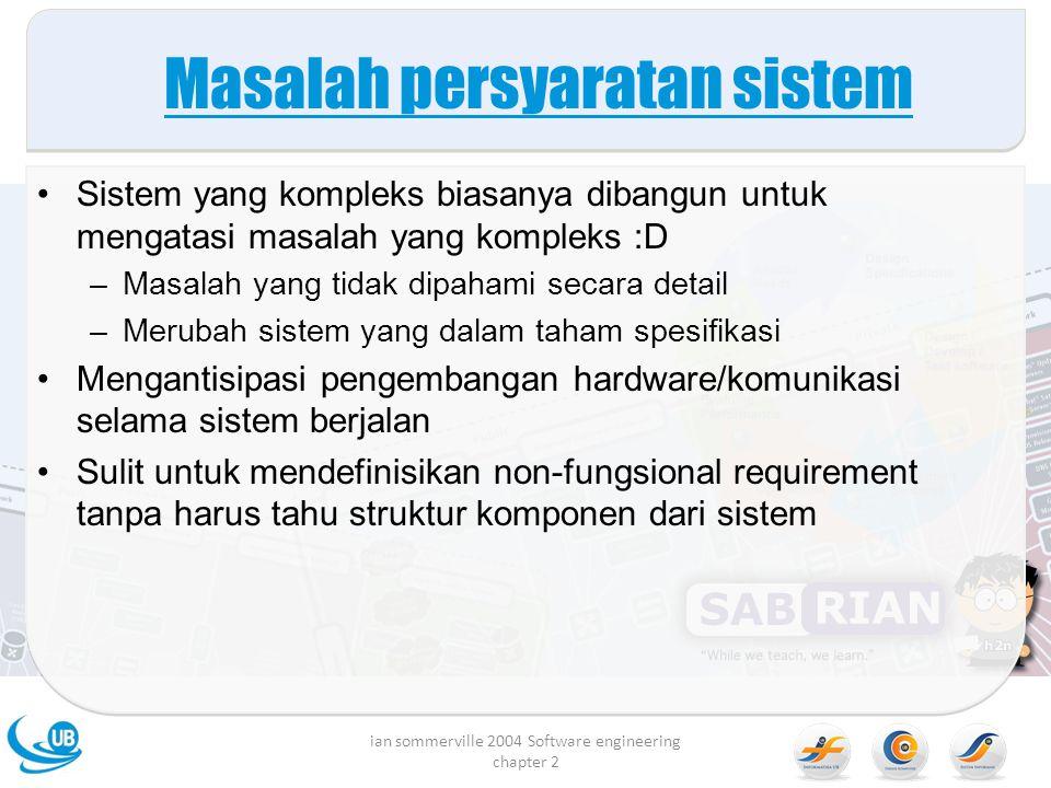 Masalah persyaratan sistem Sistem yang kompleks biasanya dibangun untuk mengatasi masalah yang kompleks :D –Masalah yang tidak dipahami secara detail
