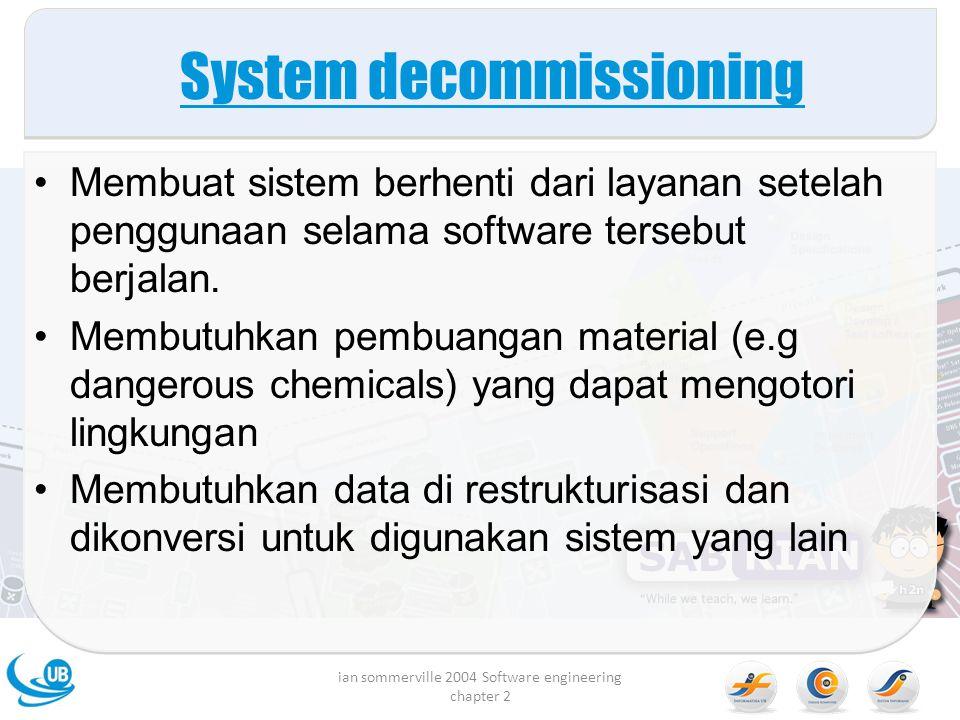 System decommissioning Membuat sistem berhenti dari layanan setelah penggunaan selama software tersebut berjalan. Membutuhkan pembuangan material (e.g