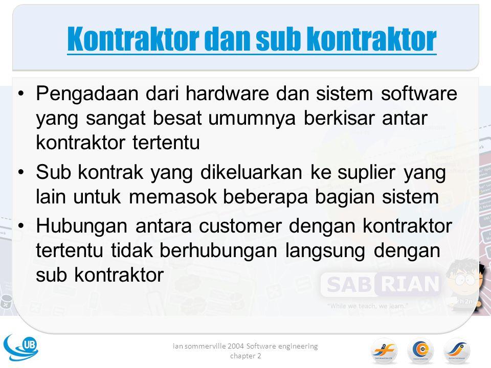 Kontraktor dan sub kontraktor Pengadaan dari hardware dan sistem software yang sangat besat umumnya berkisar antar kontraktor tertentu Sub kontrak yan