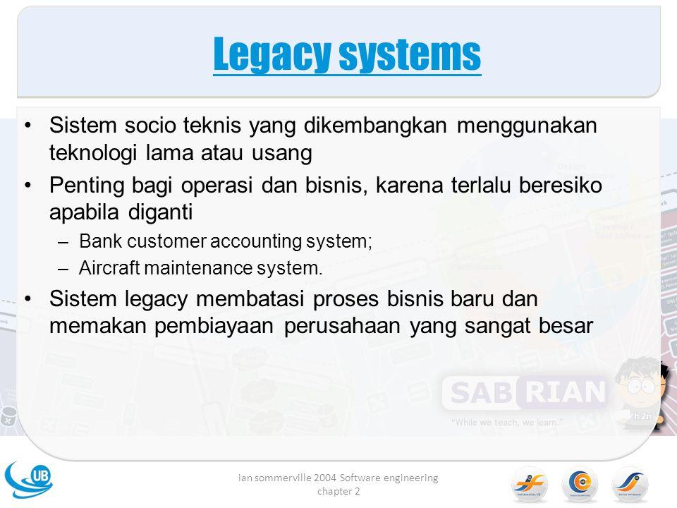 Legacy systems Sistem socio teknis yang dikembangkan menggunakan teknologi lama atau usang Penting bagi operasi dan bisnis, karena terlalu beresiko apabila diganti –Bank customer accounting system; –Aircraft maintenance system.