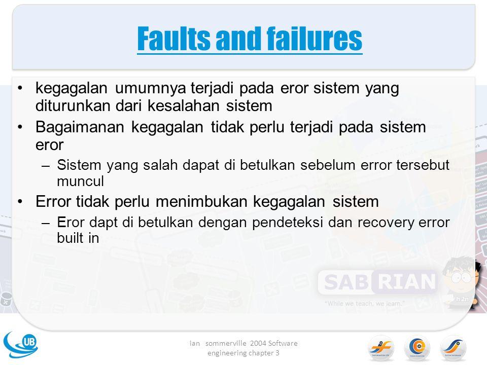 Faults and failures kegagalan umumnya terjadi pada eror sistem yang diturunkan dari kesalahan sistem Bagaimanan kegagalan tidak perlu terjadi pada sis