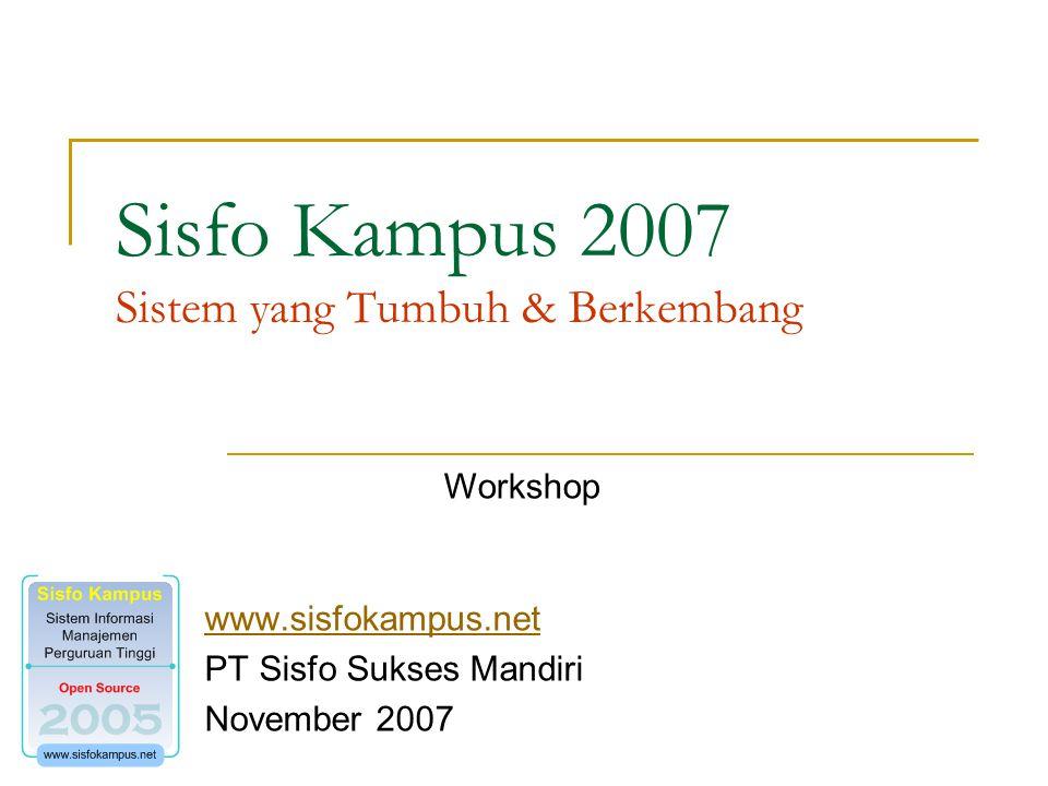 Sisfo Kampus 2007 Sistem yang Tumbuh & Berkembang www.sisfokampus.net PT Sisfo Sukses Mandiri November 2007 Workshop