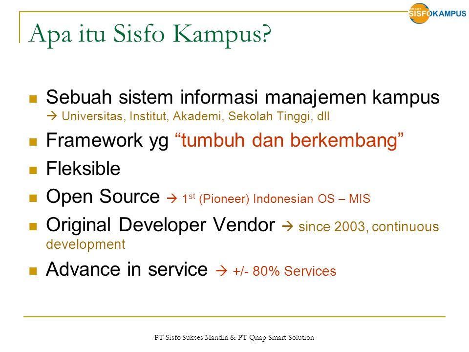 PT Sisfo Sukses Mandiri & PT Qnap Smart Solution Apa itu Sisfo Kampus? Sebuah sistem informasi manajemen kampus  Universitas, Institut, Akademi, Seko
