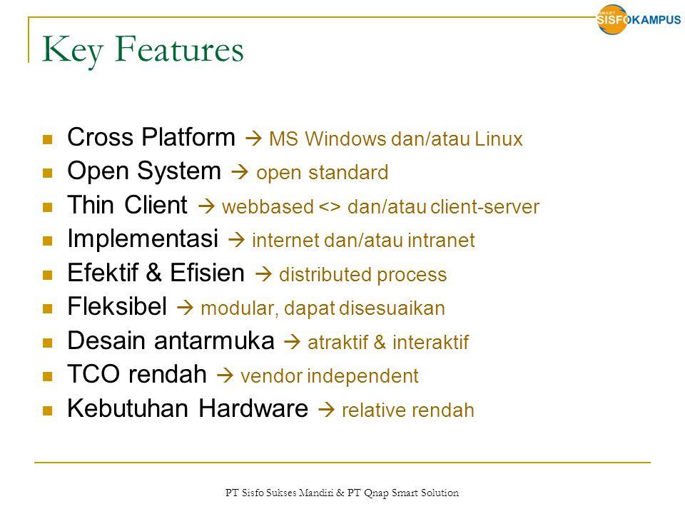 PT Sisfo Sukses Mandiri & PT Qnap Smart Solution Key Features Cross Platform  MS Windows dan/atau Linux Open System  open standard Thin Client  web