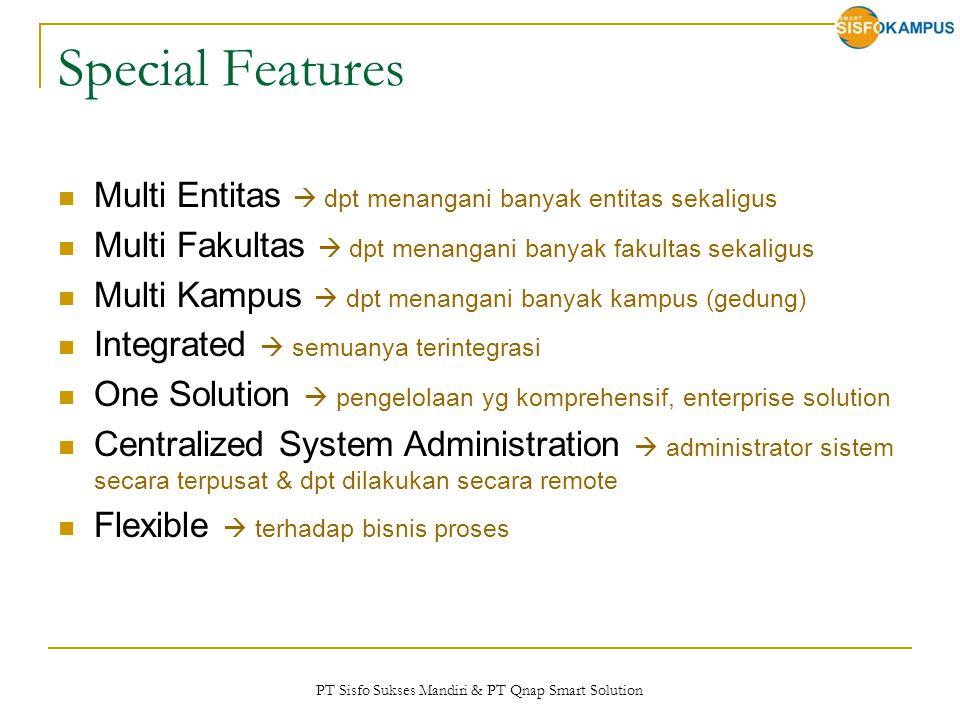 PT Sisfo Sukses Mandiri & PT Qnap Smart Solution Special Features Multi Entitas  dpt menangani banyak entitas sekaligus Multi Fakultas  dpt menangan