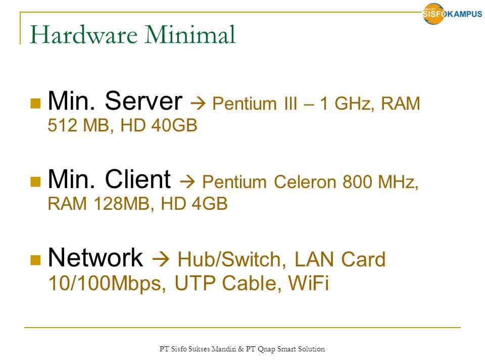 PT Sisfo Sukses Mandiri & PT Qnap Smart Solution Hardware Minimal Min. Server  Pentium III – 1 GHz, RAM 512 MB, HD 40GB Min. Client  Pentium Celeron