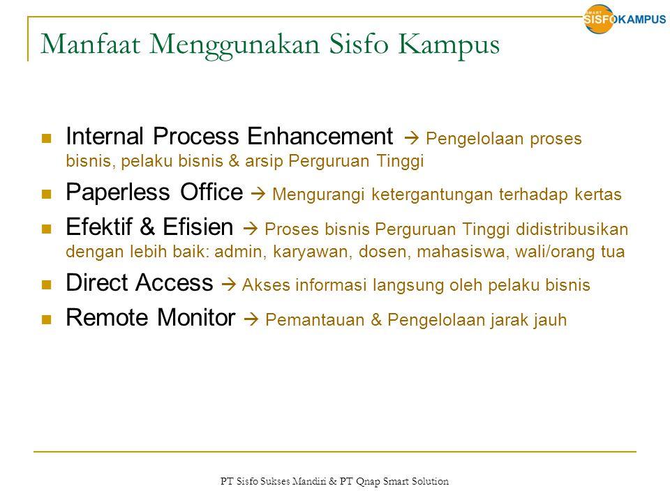 PT Sisfo Sukses Mandiri & PT Qnap Smart Solution Manfaat Menggunakan Sisfo Kampus Internal Process Enhancement  Pengelolaan proses bisnis, pelaku bis