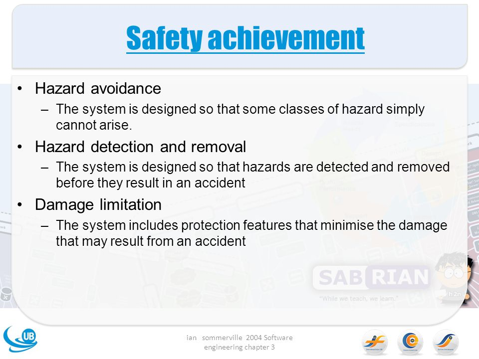Safety achievement Hazard avoidance –The system is designed so that some classes of hazard simply cannot arise. Hazard detection and removal –The syst