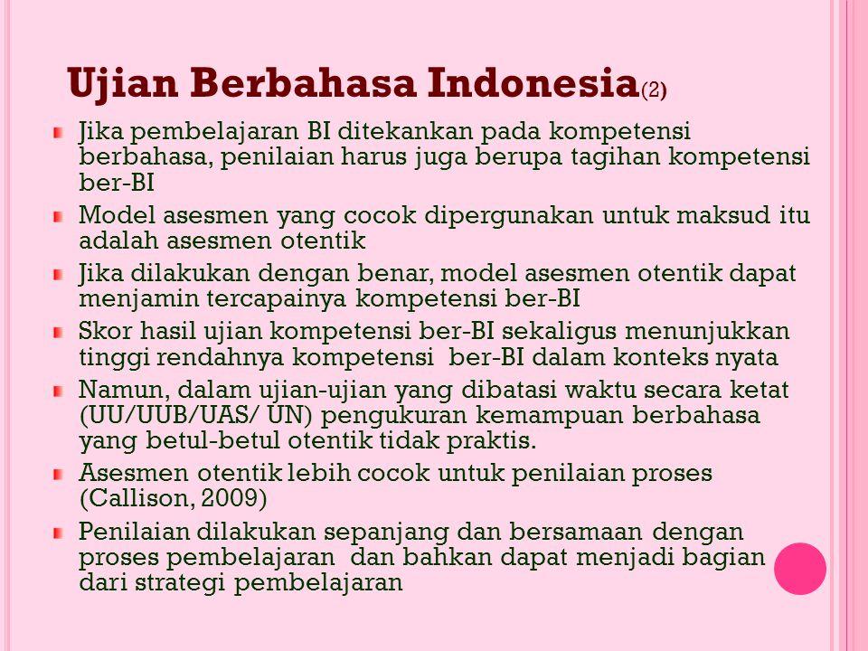 UJIAN BERBAHASA INDONESIA (1) Ada perbedaan makna antara ujian Bahasa Indonesia dan Berbahasa Indonesia Ujian BI: konotasi ke sistem bahasa Ujian ber-