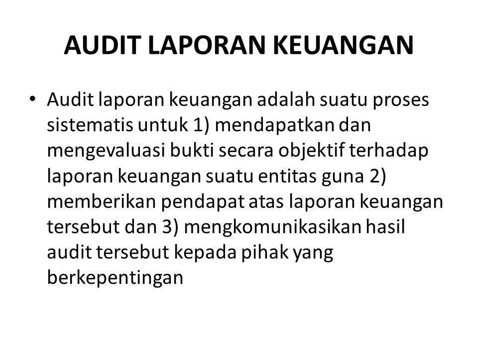 AUDIT LAPORAN KEUANGAN Audit laporan keuangan adalah suatu proses sistematis untuk 1) mendapatkan dan mengevaluasi bukti secara objektif terhadap lapo