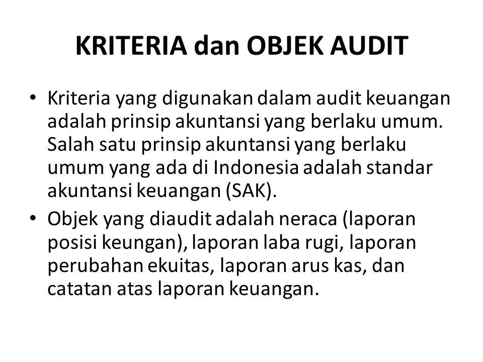 KRITERIA dan OBJEK AUDIT Kriteria yang digunakan dalam audit keuangan adalah prinsip akuntansi yang berlaku umum.