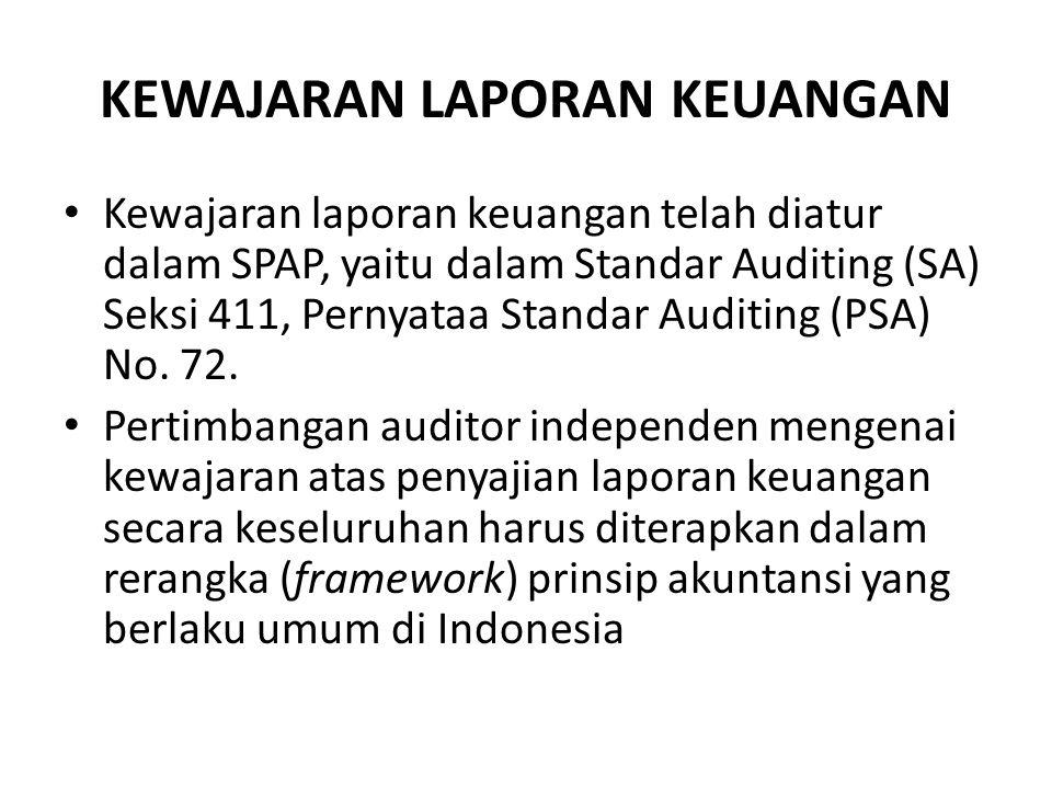 KEWAJARAN LAPORAN KEUANGAN Kewajaran laporan keuangan telah diatur dalam SPAP, yaitu dalam Standar Auditing (SA) Seksi 411, Pernyataa Standar Auditing