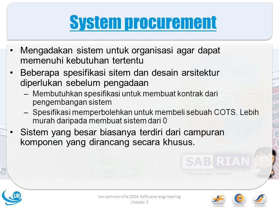 System procurement Mengadakan sistem untuk organisasi agar dapat memenuhi kebutuhan tertentu Beberapa spesifikasi sitem dan desain arsitektur diperlukan sebelum pengadaan –Membutuhkan spesifikasi untuk membuat kontrak dari pengembangan sistem –Spesifikasi memperbolehkan untuk membeli sebuah COTS.